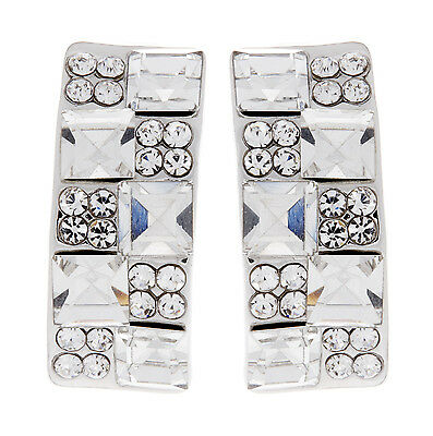 SILVER CLIP ON EARRINGS - stud earring with clear crystals and stones - Agatha