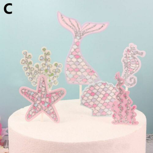 Decoration Baby Shower Craft Food Sticks Mermaid Cupcake Toppers Cake Decor