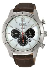 Brand New Pulsar Gents Solar Powered Chronograph Leather Strap Watch PX5049X1