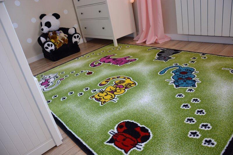 Teppiche Weich und dicht Kinder Teppich KIDS C428 C428 C428 grün fröhlich Katze | Großer Verkauf  ab7017