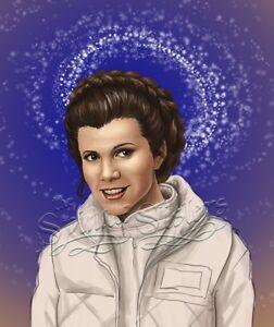 Princess Leia Art Print Blue Background 8x10 Star Wars Fan Art