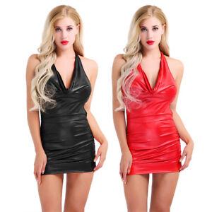 Women-Leather-Wetlook-Halter-Strech-Slim-Fit-Bodycon-Short-Pencil-Dress-Clubwear