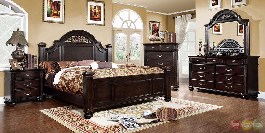 Details about Syracuse Traditional Dark Walnut Queen Poster Bed 6 Piece  Bedroom Furniture Set