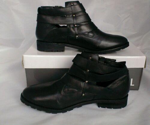 Women's By Ravel triple Buckle Cut scarpe Out Black Boots Box Leather 7 No uk 6wc16rqBx4