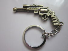 Key chain ring antique silver gun pendant charm colectors novelty gift