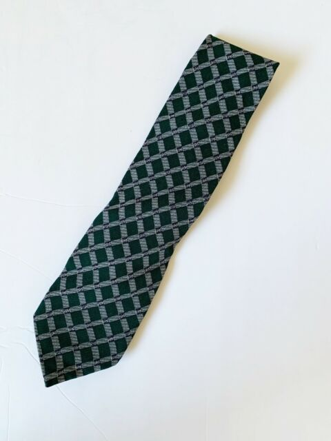 Men's Emporio Armani Green with Gray Check Pattern Tie Made in Italy