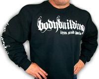 Bodybuilding Clothing Sweatshirt Workout Top Black Iron & Pain Logo D-23