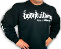 Bodybuilding Clothing Sweatshirt Workout Top Black Iron & Pain Logo D-23