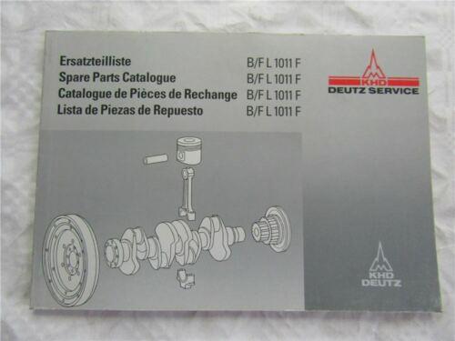 Deutz Motor B FL 1011 F Ersatzteil-Bildkatalog Ersatzteilliste Parts List 5//1995
