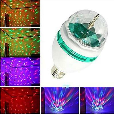 TI AU E27 3W Colorful Auto Rotating RGB LED Bulb Stage Light Party Lamp Disco