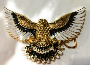 WESTERN-Steer-Eagle-Gold-White-Color-Beauty-Cowboy-Rodeo-Style-Belt-Buckle-USA