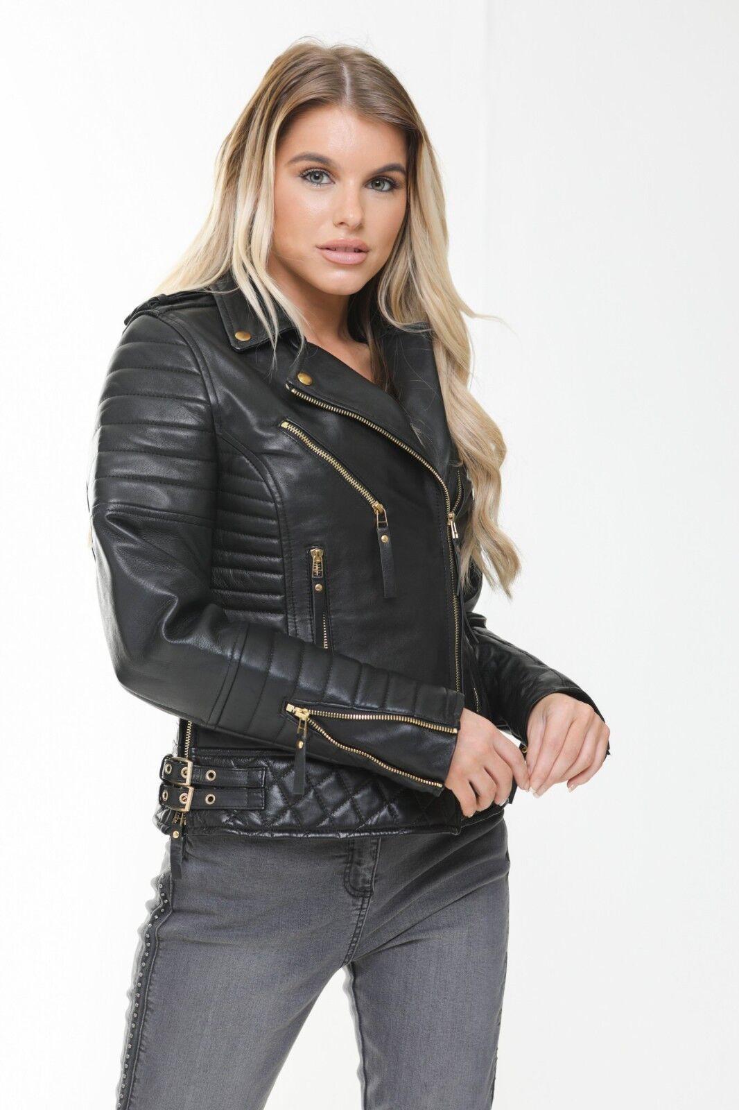 Subalmacén de señora real curtidas  Biker estilo señora chaqueta de cuero slim fit  marca