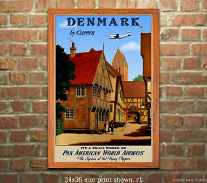 Pan Am Denmark Vintage Airline Travel Poster 6 sizes, matte+glossy avail