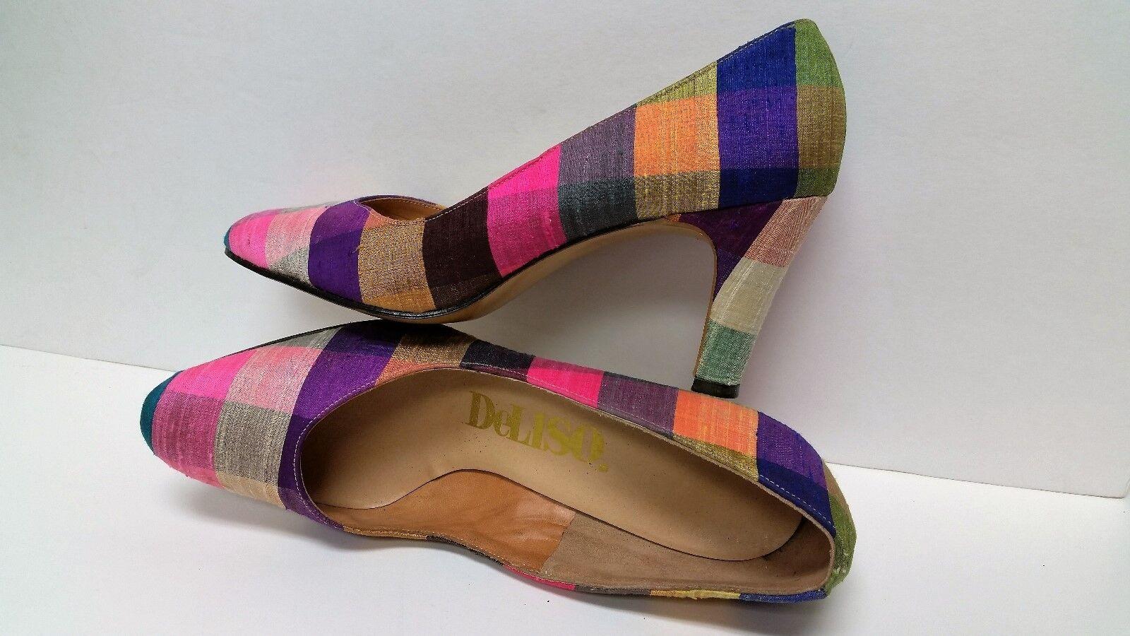 Vintage Multi-Farbe - 1960s 60s DeLiso Debs Pumps Classic Multi-Farbe Vintage Fabulous Schuhes Größe 6B 21846e