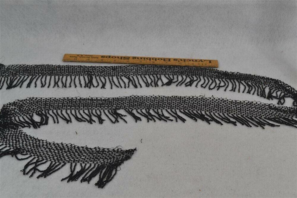 old period black glass bead fringe salvage 3x48 in repurpose sewing original vg