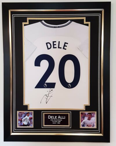 New 2017 2018 Dele Alli of Tottenham Signed Shirt Autograph Display