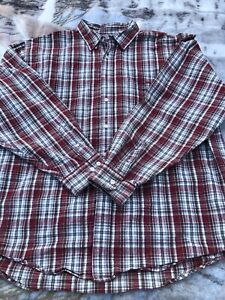 Mens-Eddie-Bauer-Button-Front-Flannel-Shirt-Long-Sleeve-Red-Plaid-XXL-100-Cotton