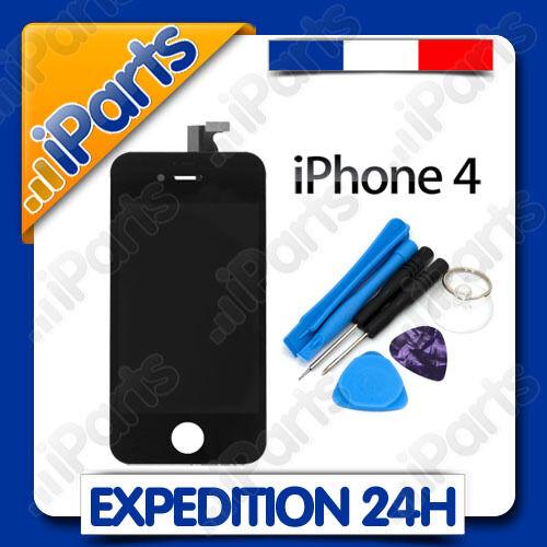 VITRE TACTILE + ECRAN LCD RETINA SUR CHASSIS POUR IPHONE 4 NOIR + OUTILS