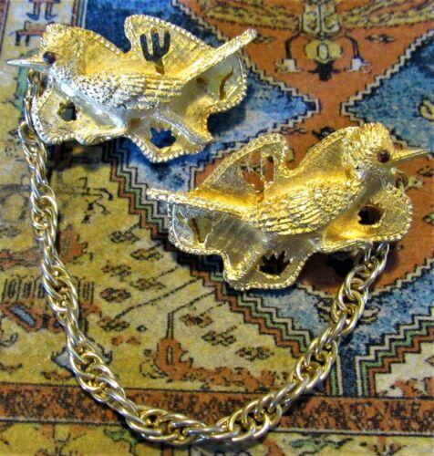 Vintage Gold Tone Roadrunner Birds Sweater Dress S
