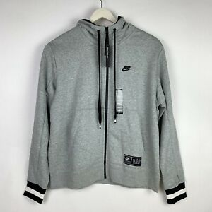 Nike-MEN-039-S-Sportswear-NIKE-AIR-Full-Zip-Hoodie-Grey-Black-SIZE-L-BRAND-NEW