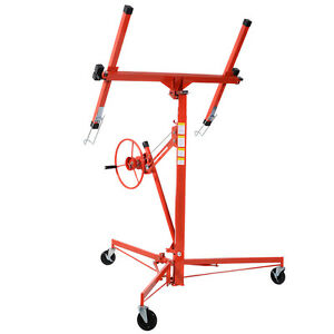 11' Drywall Lift Panel Hoist Dry Wall Jack Rolling Caster Lifter Lockable New 6940350803125