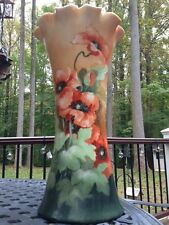 "Early Lg Vienna Austria Hand-Painted Poppy Flower Vase - Artist Signed 15.5"""