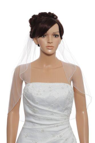 1T White Bridal Shoulder Length Pencil Edge Wedding Veil