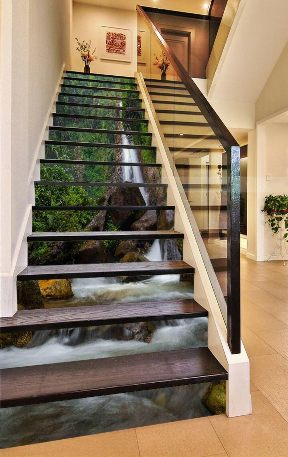 3D Stream Trees 05 Stair Risers Decoration Photo Mural Vinyl Decal Wallpaper CA