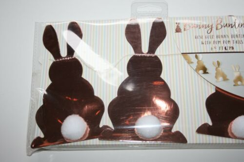 Pier 1 Easter Paper Bunny Garland Rose Gold NWT Baby Shower Girl Pom Pom Tails