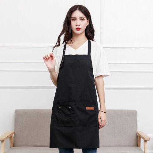 Canvas Pockets Apron Butcher Crafts Baking Chefs Kitchen Cooking BBQ Plain NewXG