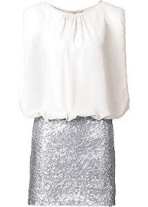 Extravagantes-Kleid-mit-Pailletten-in-Wollweiss-Silber-Gr-38-Q4026-907208