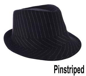 53c876bc0d0 Image is loading FEDORA-TRILBY-WEDDING-HAT-Pin-Striped-Pinstripe-BLACK-