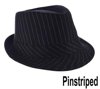 FEDORA TRILBY WEDDING HAT Pin Striped Pinstripe BLACK Toddler Kids Adults XXS L