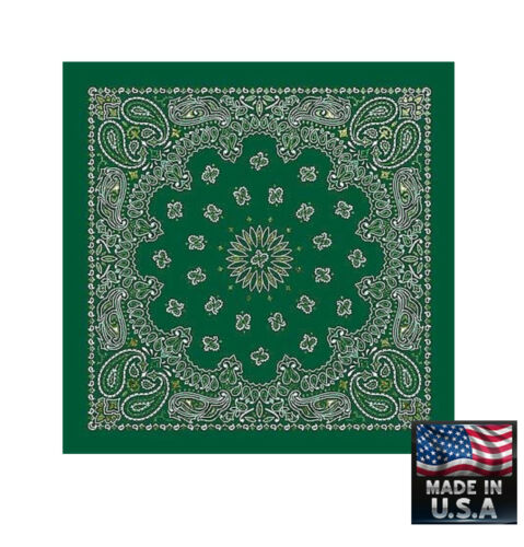 "*USA Made*GREEN w//GOLD GLITTER Paisley BANDANA BANDANNA Wrap Scarve 22/"" Cotton"