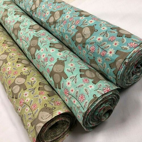 Smiling Hippos 3 colours PolyCotton Fabric Per Metre 114cm Wide