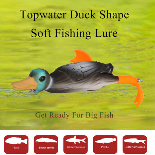 1PC Topwater Duck Surface Fishing Lure 10cm 18.5g Soft Silicone Bait Bass Carp