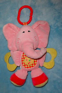 Koala-Baby-Plush-Pink-Elelphant-Musical-Teether-Stuffed-Clip-On-Baby-Toy