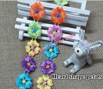 HB10D 2 Yards Polyester Flower Embroidered Applique Lace Trim Sewing Handicrafts