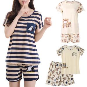 Women-Cartoon-Pajamas-Short-Sleeve-Cotton-Pyjamas-Set-Home-Nightwear-Sleepsuit
