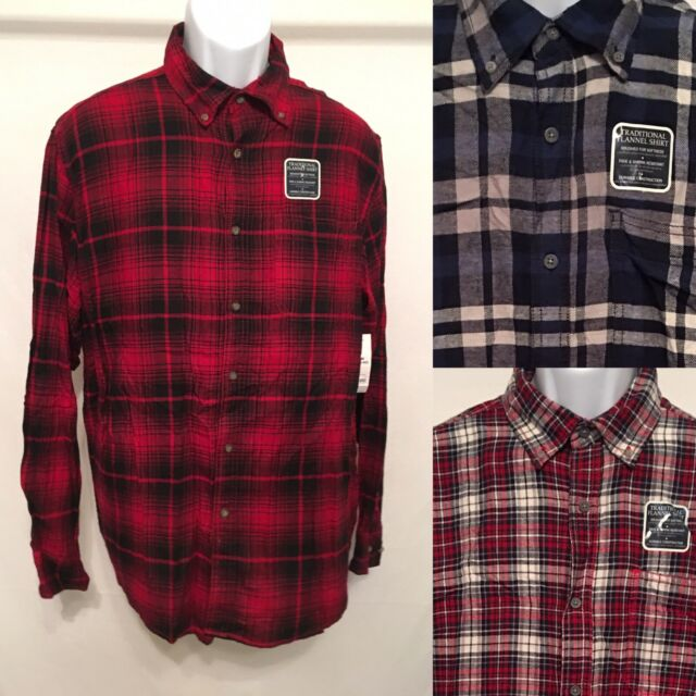 Faded Glory Mens Long Sleeve Blue and Black Checkered Flannel Shirt