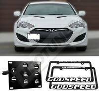 For Genesis Coupe 10-14 Front Tow Hook License Plate Mount Kit+2x Gsp Frames Set