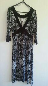 Women-039-s-Dress-Target-size-10-black-amp-white-floral-print-knit-stretch