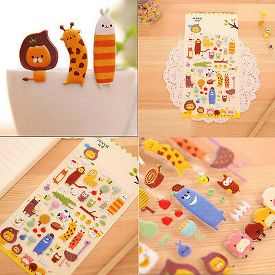 1Sheet Cute Zoo Stickers Kids Cartoon Toys 3D DIY Diary Scrapbook Stationery LW