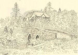 J.A. Pusey - 1992 Pen and Ink Drawing, Dartmeet, Dartmoor