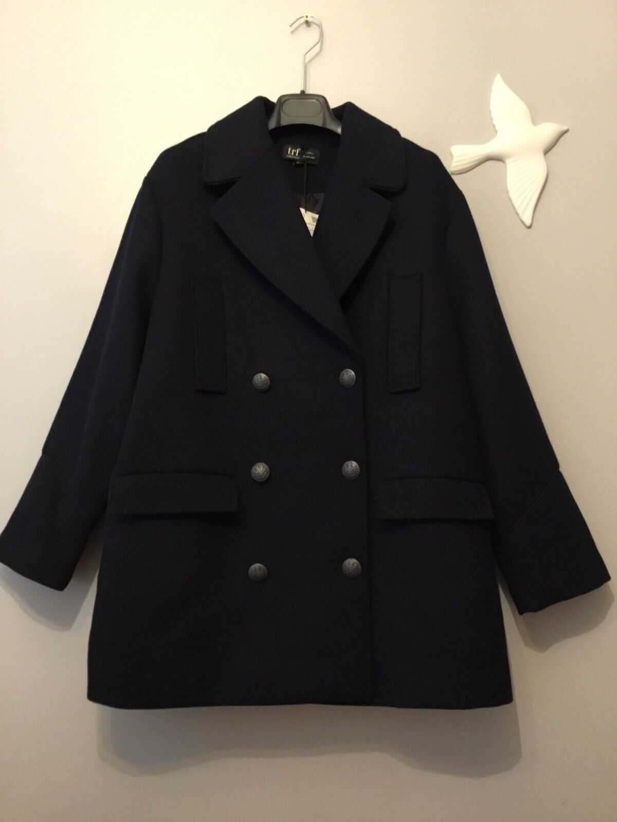 b4bbd58dcb606d ZARA Wool Double Coat Größe S-M Genuine Breasted Navy ntchlx1151 ...