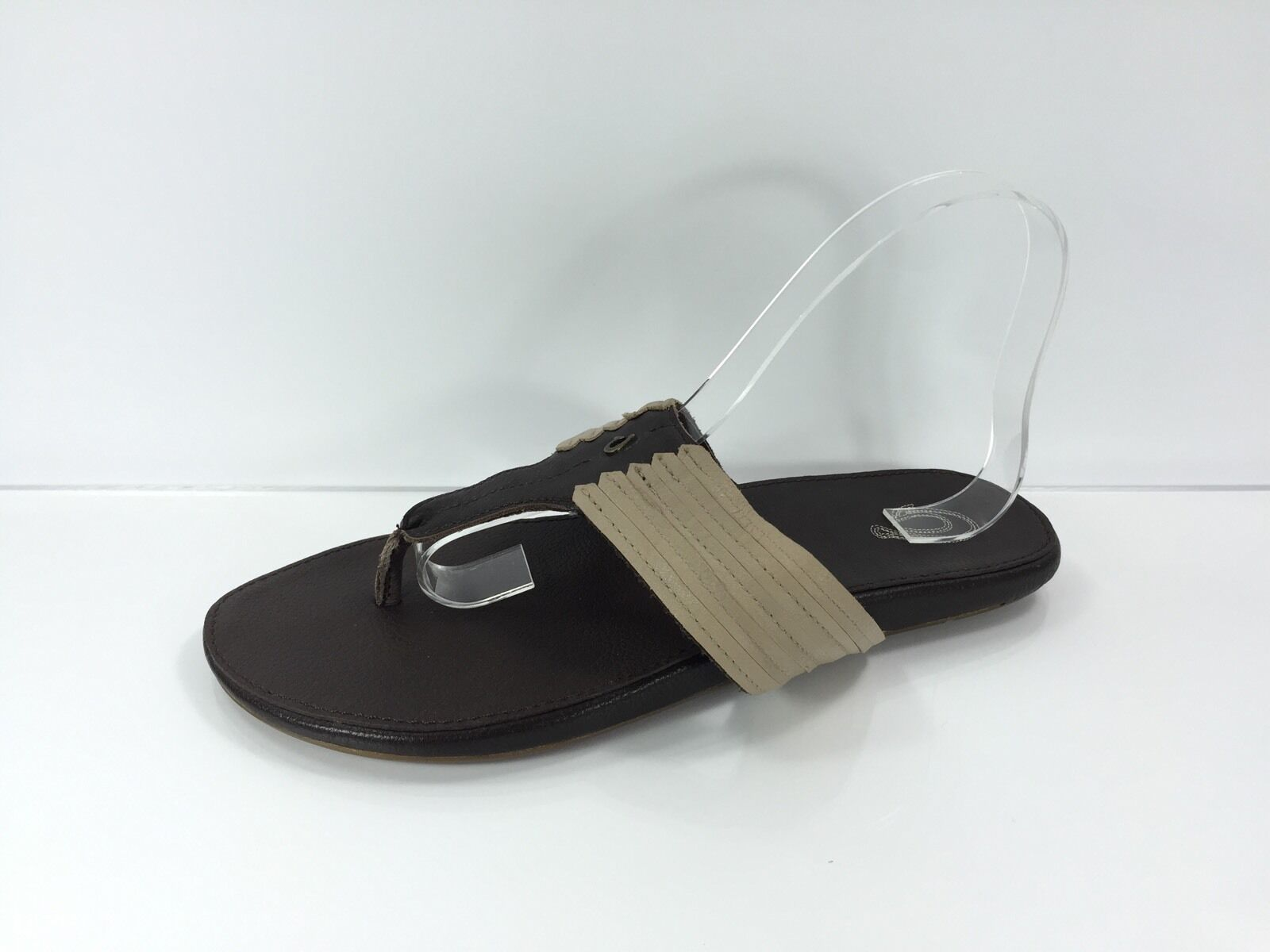 Olu Kai femmes Dark marron Pewter Leather Leather Leather Flip Flops 9 W 520377