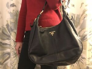 e105419e62d6 Image is loading Authentic-PRADA-Black-Vitello-Daino-Leather-Hobo-Bag