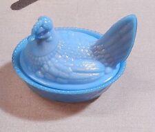 "Vintage Westmoreland  Glass Antique Blue Hen on Nest 5 3/4""  NEW"