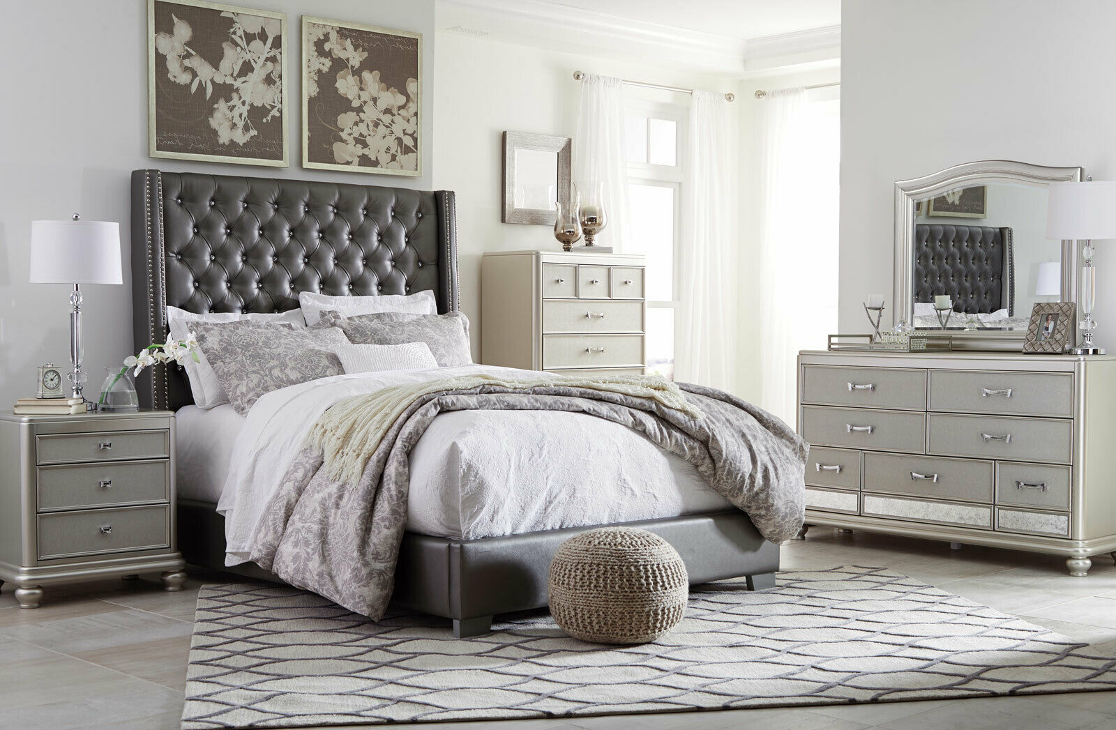 Modern Glamorous Silver 5pcs Bedroom Set Furniture W Gray Panel Queen Bed Ia0y For Sale Online