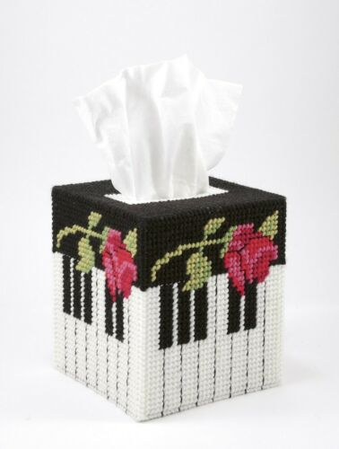 Plastic Canvas Pattern Book TISSUE BOX COVERS ~ Boutique ~ Piano Flowers Cat